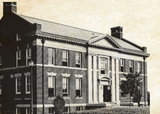 Old photo of a hall on campus